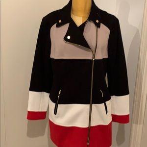 Fun red, cream & black coat